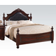Acme Gwyneth King Traditional Poster Bed with Black PU Upholstered Headboard in Cherry 21877EK