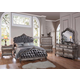 Acme Chantelle Bedroom Set with Button Tufted Panels in Antique Platinum