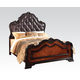 Acme Le Havre Queen Panel Bed with Button Tufted Headboard in Two-Tone Brown 22400Q