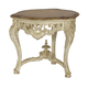 American Drew Jessica McClintock Boutique Round Carved End Table in White Veil 217-916W