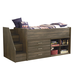 Juararo Loft Bed with Left Storage Steps and Loft Ends in Dark Brown
