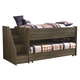 Juararo Twin Loft Bed with Left Storage Steps and Caster Bed in Dark Brown
