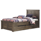 Juararo Contemporary Twin Panel Bed with Under Bed Storage in Dark Brown