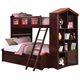 Acme Coyle Twin over Full Bunk Bed with Storage Bookcase and Trundle in Rich Espresso 37090T/T