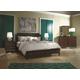Aspenhome Genesis Angled Bonded Leather Storage Sleigh Bedroom Set in Kona Brown