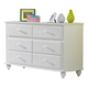 Hillsdale Lauren 6-Drawer Dresser in Crisp White 1528-717W
