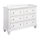 Standard Furniture Watercolor Youth Six Drawer Dresser in Snow White 84400-84409