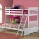 Hillsdale Lauren Twin/Full Bunk Bed in Crisp White