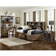 Magnussen Furniture Braxton Lounge Bedroom Set with Storage Rails in Distressed Natural