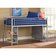 Hillsdale Universal Junior Loft Bed with Desk and Stool in Silver
