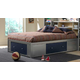 Hillsdale Universal Twin Storage Platform Bed w/ Bookcase Headboard in Silver and Navy