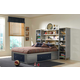 Hillsdale Universal Twin Storage Platform Bed w/ Bookcase Wall in Silver and Navy