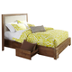 Cresent Fine Furniture Waverly Upholstered Platform Queen Bed w/ Storage on One Side in Driftwood
