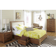 Cresent Fine Furniture Waverly Upholstered Platform Bedroom Set w/ Storage on One Side in Driftwood