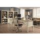 Aspenhome Cottonwood Curve Pedestal L-Desk Home Office Set in Linen White