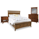 Cresent Fine Furniture Modern Shaker 4 Piece Slat Panel with Storage Bedroom Set in Cherry