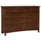 All-American Bronco 8-Drawer Triple Dresser in Cherry