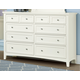 All-American Bonanza 8-Drawer Triple Dresser in White
