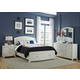 Liberty Furniture Avalon 4 Piece Storage Platform w/ Leather Headboard Bedroom Set in WhiteTruffle