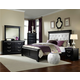 Standard Furniture Venetian Black Upholstered Panel Bedroom Set in Black