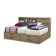Dexfield Full Bookcase Bed with Storage Footboard in Beige Brown B298