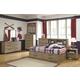 Dexfield Bookcase Bedroom Set with Storage Footboard in Beige Broom B298
