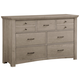 All-American Transitions 7 Drawer Dresser in Driftwood Oak