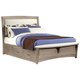 All-American Transitions Queen Upholstered Bed with 1 Side Storage in Driftwood Oak