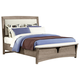 All-American Transitions King Upholstered Bed, Base Cloth Linen in Driftwood Oak