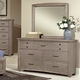 All-American Transitions Dresser with Mirror in Driftwood Oak