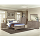 All-American Transitions 4 Piece Upholstered Bedroom Set, Base Cloth Linen in Driftwood Oak