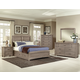All-American Transitions 4 Piece Panel Bedroom Set with 1 Side Storage in Driftwood Oak