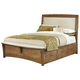 All-American Transitions Queen Upholstered Bed with 1 Side Storage in Dark Oak