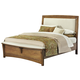 All-American Transitions Queen Upholstered Bed, Base Cloth Linen in Dark Oak
