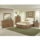 All-American Transitions 4 Piece Upholstered Bedroom Set with 1 Side Storage in Dark Oak