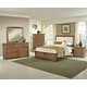 All-American Transitions 4 Piece Upholstered Bedroom Set, Base Cloth Linen in Dark Oak