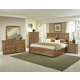 All-American Transitions 4 Piece Panel Bedroom Set with 2 Side Storage in Dark Oak