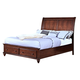 New Classic Spring Creek Queen Sleigh Storage Bed in Tobacco