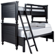 Universal Smartstuff Black & White All American Twin Over Full Bunk Bed in Ebony 437B590 CLOSEOUT