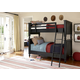Universal Smartstuff Black & White Bunk Bedroom Set in Ebony