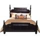 American Drew Casalone Queen Upholstered Poster Bed in Dark Walnut
