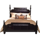 American Drew Casalone King Upholstered Poster Bed in Dark Walnut