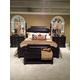 American Drew Casalone Upholstered Poster Bedroom Set in Dark Walnut