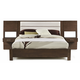 Casana Hudson King Upholstered Platform Bed with Panel Nightstands in Deep Licorice 525-918KK