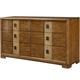 American Drew Grove Point 6 Drawer Dresser in Warm Khaki/ Chocolate 314-130