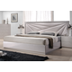 J&M Florence Queen Platform Bed in White and Taupe 17852-Q