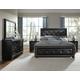 Pulaski Fenton 4 Piece Upholstered Panel Bedroom Set in Black