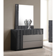 J&M Furniture Roma Dresser and Mirror in Black & Grey Lacquer 17777-DM