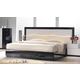 J&M Furniture Turin Queen Platform Bed in Light Grey & Black Lacquer 17854-Q