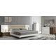 J&M Furniture Lisbon Premium Bedroom Set in White/Beige/Walnut